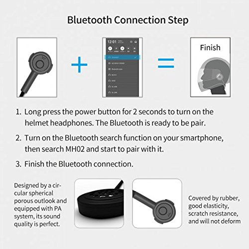Radioddity Wireless Stereo Motorcycle Bluetooth 4.0 Helmet Headset, Wide Compatibility 8 Hours Working Time Bicycle Helmet Headphones with Hands-Free Speakers, Music Call Control by Radioddity (Image #4)'