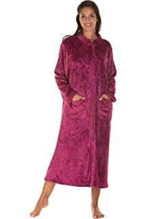 342b6c8f584d Ladies Soft Zip Dressing Gown Long Bed Jacket Plus Size Winter Dark Rose  Navy 10 12 14 16…