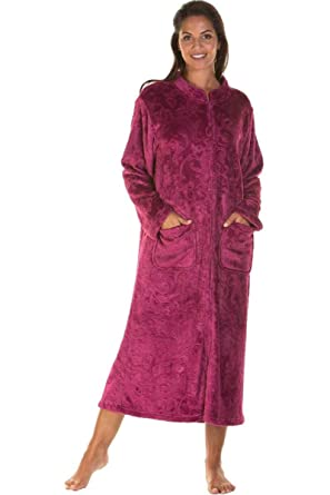 eff4c41d131b Ladies Soft Zip Dressing Gown Long Bed Jacket Plus Size Winter Dark Rose  Navy 10 12 14 16 18 20 22 24 UK  Amazon.co.uk  Clothing