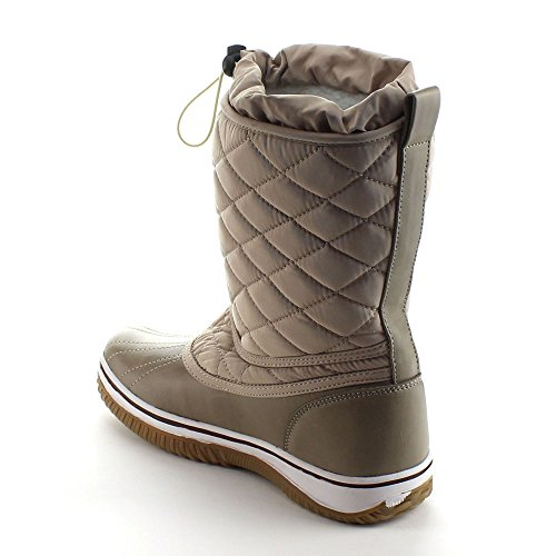 Da Viccino Refresh Snow-01 Dames Lace Up Waterdicht Doorgestikte Halflange Winter Snowboots Taupe