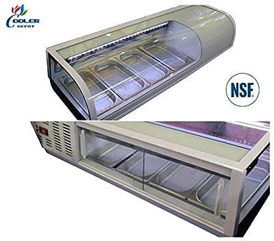 """Sushi Refrigerator Cooler Display Case Countertop 4 Pan; LED Lighting; 46"""" Wide NSF ETL"""