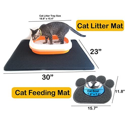 "Ballmie Cat Litter Mat (2-mat set) Double-Layer Honeycomb -XL Size (30""×23"") + Cat feeding mat ,Litter-Trapping, Waterproofed, Exclusive Urine, Light EVA Material, for cat litter box, non-toxic soft"