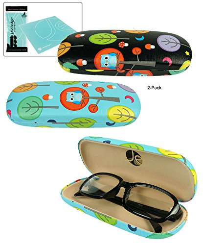 JAVOedge (2 PACK) Whimsical Owls and Trees Printed Pattern Hard Clam Shell Eyeglass Case Bonus Microfiber Cleaning - With Owl Glasses