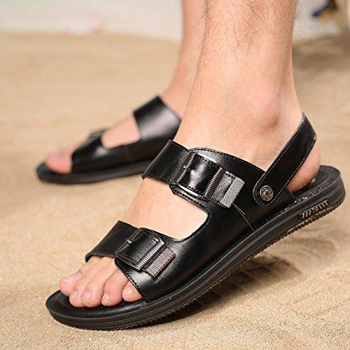 Toe da Black Sandali Scarpe Estate Moda da Spiaggia Scarpe Open Uomo Pantofole da Uomo qFH6XR6