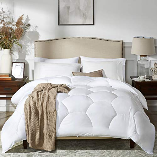 MoMA White Quilted Queen Comforter - Duvet Insert Comforter Set - Elegant Bedding for Comfort -Soft Comforter - Hotel Style Down Alternative Comforter - Hexagonal Lattice Design Comforter - 86