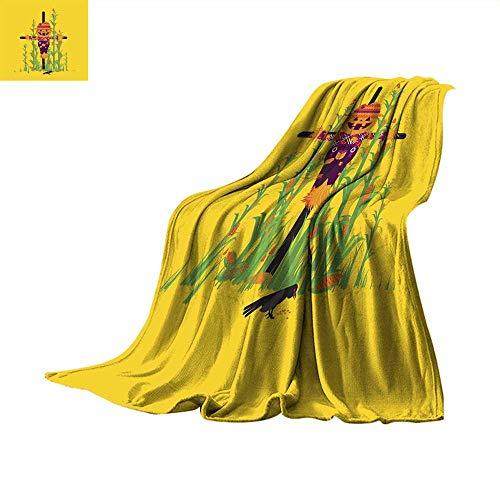WinfreyDecor Plush Throw Blanket Scarecrow for Halloween in a Flat Style Throw Blanket 62