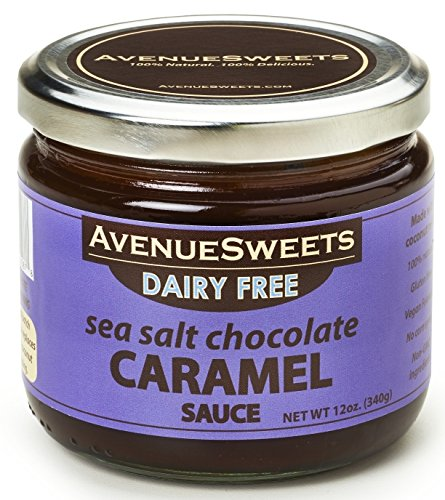 AvenueSweets 12oz jar DAIRY-FREE (vegan) Sea Salt Chocolate Caramel Sauce Chocolate No Salt Milk