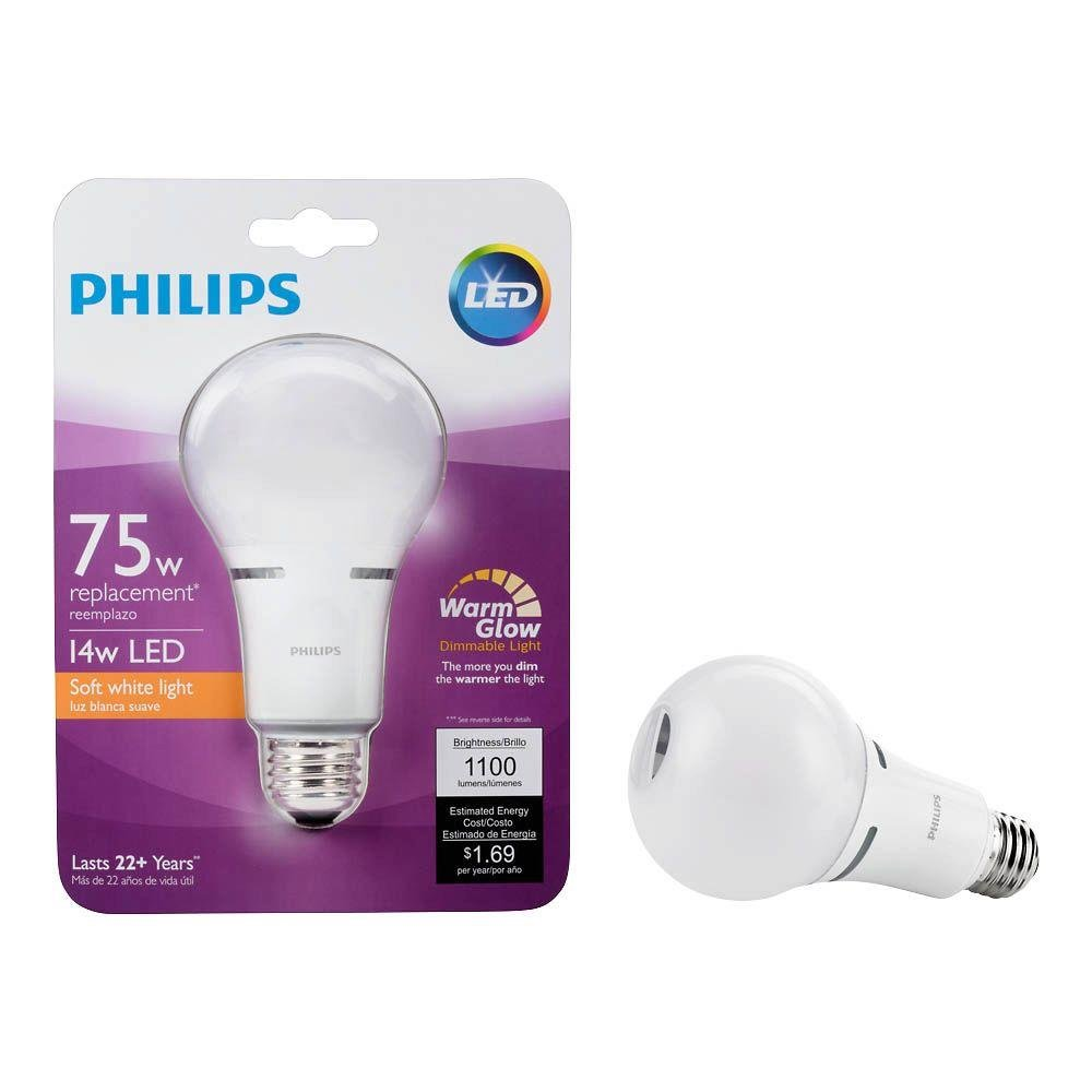 Philips 459065 75w Equivalent Soft White Household A21 Dimmable Led With Warm Glow Light Effect