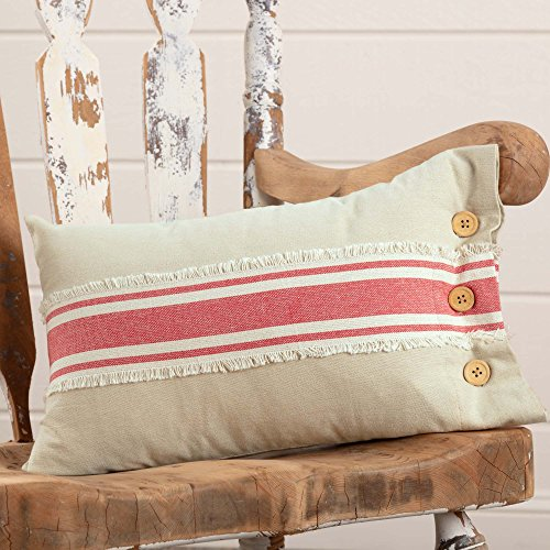 Piper Classics Farmhouse Red Grain Sack Stripe Throw Pillow Cover, 12