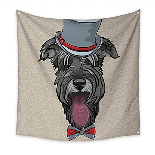 Anniutwo Feminine Tapestry Vector Funny Cartoon Hipster Dog Schnauzer Dorm Living Room Bedroom 70W x 70L Inch