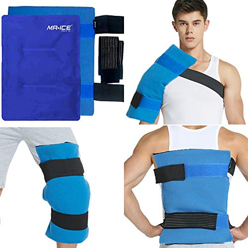 Large Gel Ice Pack Wrap with Elastic Straps for Hot Cold Reusable Therapy, Flexible Compress for Pain Relief, Muscle Aches, Bruises, Swelling, Sprains, Injuries, 14
