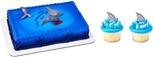 Shark Cake Topper & 12 Shark Fin Cupcake Picks