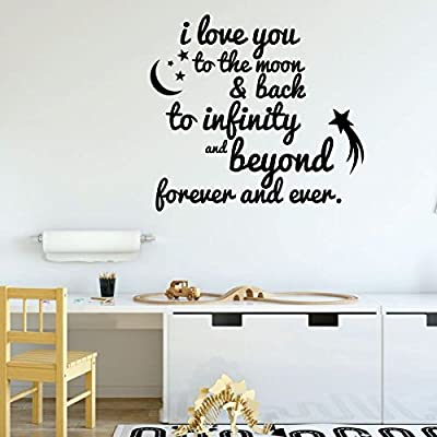 Nursery Wall Decor - I Love You to The Moon & Back, To Infinity and Beyond - Vinyl Decal Sign - Home Decoration for Children's Bedroom, Playroom: Handmade