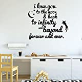 cape cod bedroom ideas Nursery Wall Decor - I Love You to The Moon & Back, To Infinity and Beyond - Vinyl Decal Sign - Home Decoration for Children's Bedroom, Playroom