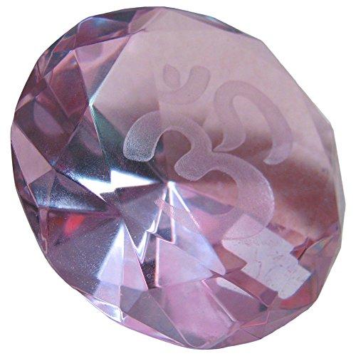 Round-Cut Om Sphatik Crystal Yoga Gift Paperweight (Pink)
