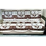 STITCHNEST 10 Piece Net Cotton 10 Seater Sofa Cover Set – Brown