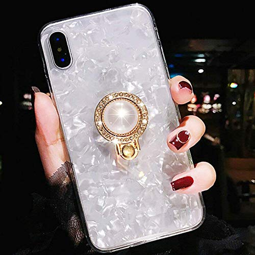 ZCDAYE Luxury Bling Crystal Diamond Ultra-Thin Soft TPU Rubber Silicone Kickstand Ring Holder Design Shock Absorption Protective Shell Case Cover for Apple iPhone Xs/iPhone X - ()