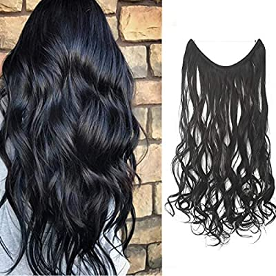 "22""/24"" Curly Straight Invisible Hidden Wire Synthetic Hair Extensions Secret Wire No Clips Full Head Hairpieces"