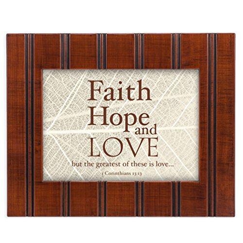 Hope Love Faith Plaques - Faith Hope Love 1 Corinthians 13:13 Leaves 8x10 Woodgrain Framed Art Wall Plaque Sign