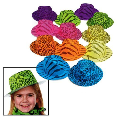 Fun Express Neon Animal Print Gangster Hats (1 Dozen) (Adult Novelty Hats)