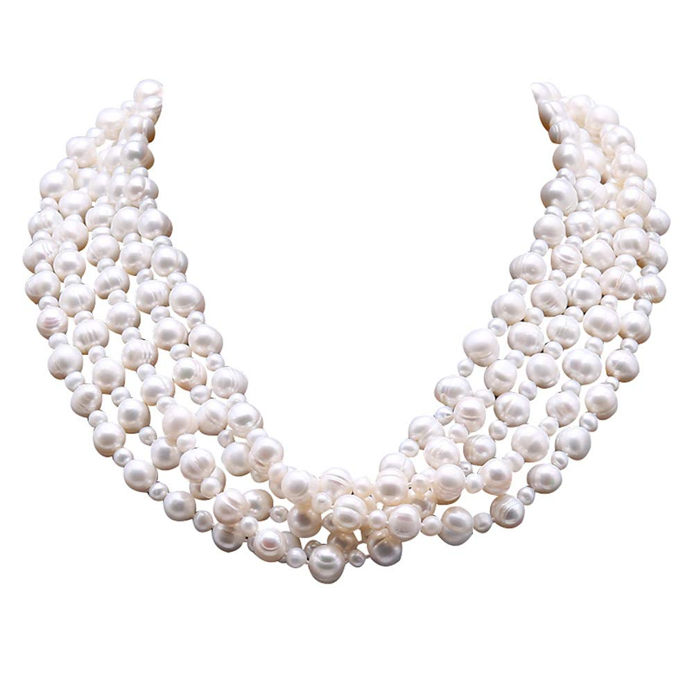 JYX Multi Strand Pearl Necklace 5X10 White Freshwater Cultured Pearl Necklace for Women 20'' by JYX Pearl
