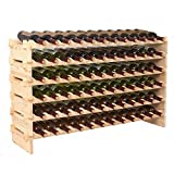 6 bottle wine rack wood - Smartxchoices Stackable Modular Wine Rack Stackable Storage Stand Wooden Wine Holder Display Shelves, Wobble-Free, Solid Wood, (Six-Tier, 72 Bottle Capacity) (Wood)