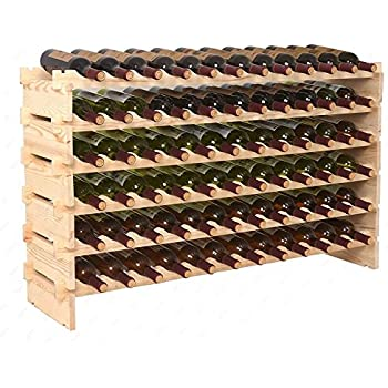 Bon Smartxchoices Stackable Modular Wine Rack Stackable Storage Stand Wooden Wine  Holder Display Shelves, Wobble