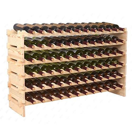 Smartxchoices Stackable Modular Wine Rack Stackable Storage Stand Wooden Wine Holder Display Shelves, Wobble-Free, Solid Wood, (Six-Tier, 72 Bottle Capacity) (Solid Pine Unfinished Cabinet)