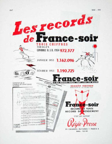 1955 Ad Evening Newspaper Paper France-Soir News French Advertising Regie-Presse - Original Print Ad from PeriodPaper LLC-Collectible Original Print Archive
