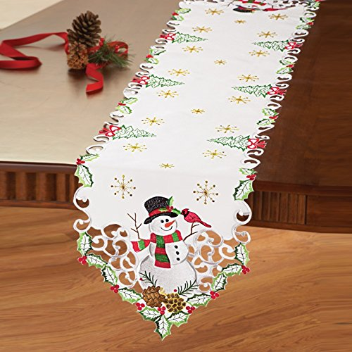 Christmas Snowman and Cardinal Cutout Table Linens with Pinecones, Christmas Trees, and Bows- Holiday Decor for Dining Room, Runner
