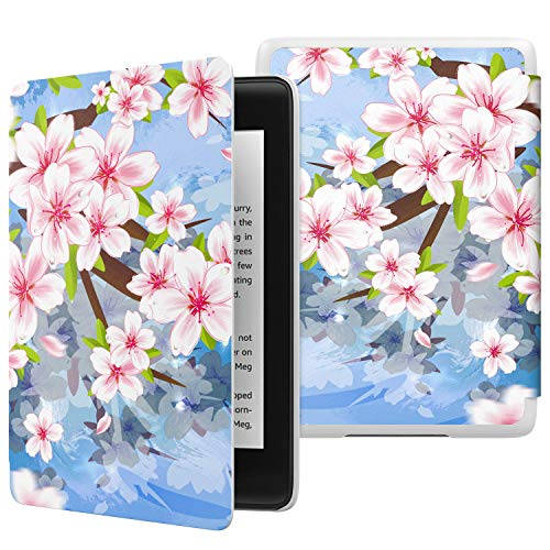 MoKo Case Fits Kindle Paperwhite (10th Generation, 2018 Release), Thinnest Lightest Smart Shell Cover with Auto Wake/Sleep for Amazon Kindle Paperwhite 2018 E-Reader - Sakura Blossom
