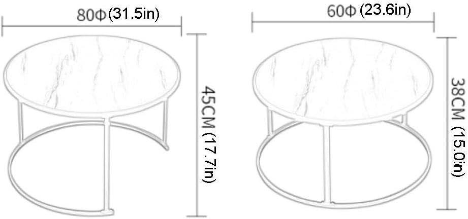 id/éal pour Le Salon Le Bureau Table Basse Ronde Simple et Moderne Cadre en Acier dor/é Plateau en mat/ériau MDF Blanc Le Balcon Lot de 2