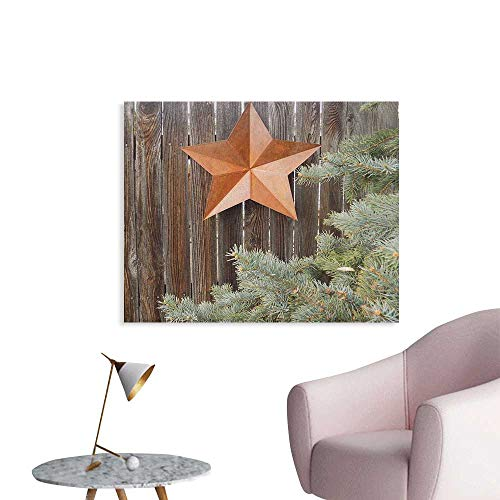 Anzhutwelve Primitive Country Wallpaper Big Orange Star on Rough Wood Fences Pine and Branches Print Cool Poster Orange Green Brown W32 xL24 for $<!--$31.00-->