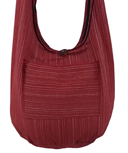 Lovely Creations Hobo Bohemian Sling Crossbody Bag Stripped Cotton Shoulder Hippie Gypsy Zip On Top Bag And Front Pocket  St Dark Red