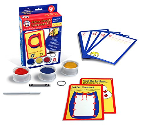 Hygloss Products, Play Dough Language Kit, Lower Case Letters A-Z, 32 Write & Wipe Cards with ()