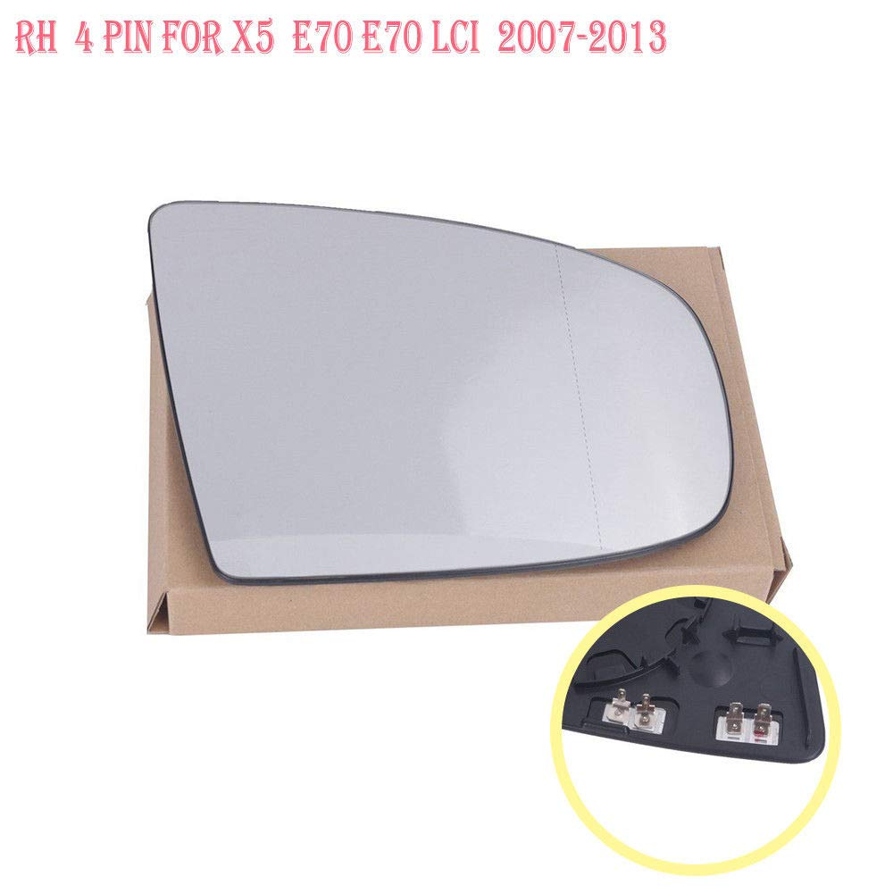Ricoy For X6 X5 E70 E71 E72 Left Side Heated Wing Mirror Side Wide Angle//Aspherical Side Rearview Glass Not Tinted White Left