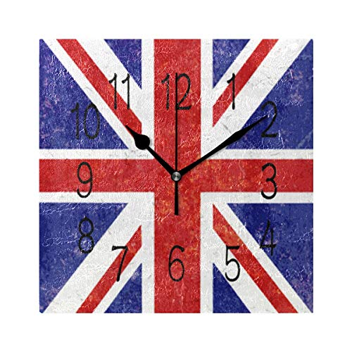 Jojogood Grunge Union Jack Background Square Wall Clock Silent Non Ticking Acrylic Decorative Clock for Home Decor Living Room Kitchen Bedroom Office School