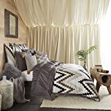 Blissliving Home 14173BEDDF/QPWT Tanzania Harper 96-Inch by 92-Inch 3-Piece Full/Queen Duvet Set, Pewter