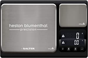 Heston Blumenthal Dual Platform Precision Scale by Salter, 10kg Capacity, Ultimate Accuracy Platforms, Easy-to-Read Digital Display, Measures Metric and Imperial Weight, Aquatronic Feature - Black