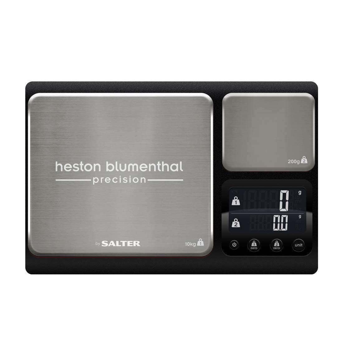 Salter Heston Blumenthal: balanza Doble, Alta Capacidad de 10 kg Segunda Plataforma de precisión de 200 g, Acero Inoxidable, 31 x 21 x 5 cm: Amazon.es