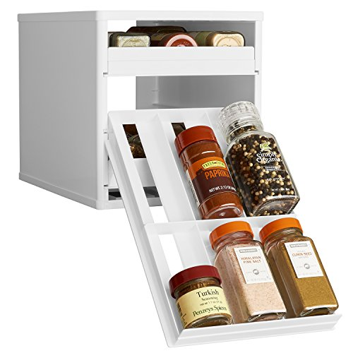 Spice Rubbermaid Rack - YouCopia Original SpiceStack 18-Bottle Spice Organizer with Universal Drawers, White