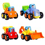 SGILE Pull Back Vehicle, 4-Pack Engineering Vehicles Toy Set Mini Dumper Bulldozer Tractor Truck Cement Mixer Set for Kids Toddler Boys, Push-Go Pull Back-Go Friction Powered Play(No Battery Needed)