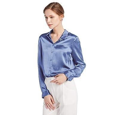a8c3fdc0f90ae2 LilySilk Damenbluse Seide Langarm Hemdbluse Oberteil Shirts Damen Kentkragen  von 22 Momme Verpackung MEHRWEG (XS