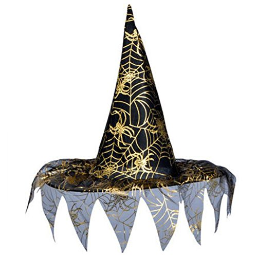 Goddness Bar Halloween Costume Party Dress Up Witch Hat Tip Cap Cosplay Net Yarn-A5]()