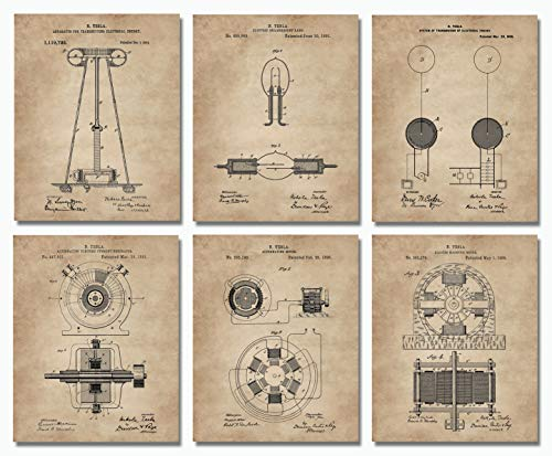 (Nikola Tesla Wall Art Patent Prints (8