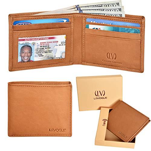 Genuine Leather RFID Blocking Handmade Bifold Wallet for Men - Slim Mens Wallet (Tan Wash) ()
