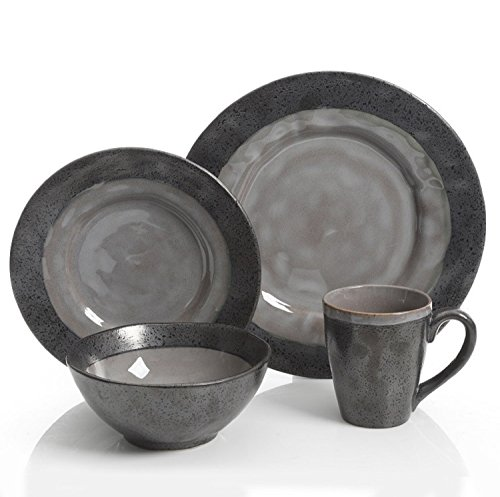 Gibson Dragonstone 16 pc Dinnerware Set Grey Stoneware