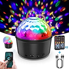 Disco Ball,Miuko Disco Lights Sound Activated Party Lights with Remote Control, 9 Color DJ Lights Wireless Phone Connection LED Stage Light 4W for Kids Bedroom Dance Parties Birthday Bar Club