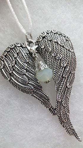 Opal Disc - October Faux Opal Birthstone Angel Wings Memorial