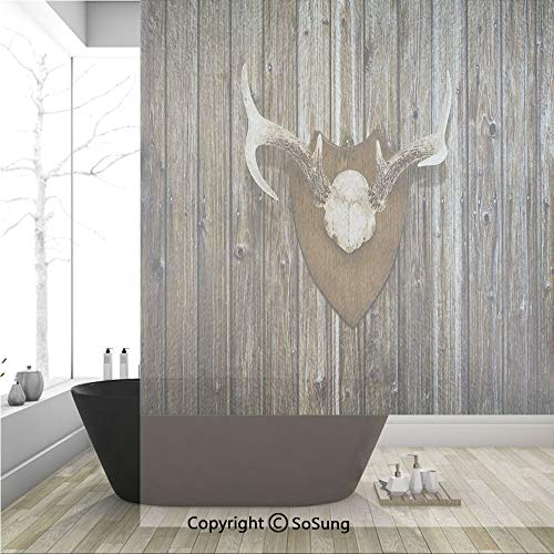 3D Decorative Privacy Window Films,Rustic Home Cottage Cabin Wall with Antlers Hunting Lodge Country House Trophy Decorative,No-Glue Self Static Cling Glass film for Home Bedroom Bathroom Kitchen Offi